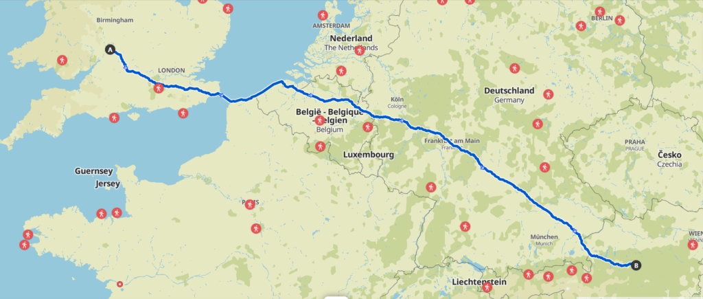 Cleeve to Admont 2021 Route Map